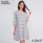 Wholesale women s Striped Ruffle Sleeve Dress sleeves ruffled cuffs Round neckli