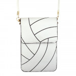 Wholesale faux leather cross body bag volleyball print inside pockets clear back