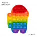 Wholesale rainbow Among Us Crewmate Push Pop Fidget Toy Pack Ages Seen TikTok It