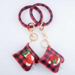 Wholesale pU Buffalo Check Christmas Key Ring Hand Sanitizer Holder Bangle Wrist