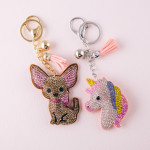 Wholesale rhinestone studded unicorn plush keychain