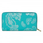 Wholesale faux Leather Metallic Paisley Print Long Wallet Zip Closure Full Bill
