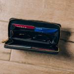 Wholesale faux Leather Metallic Paisley Print Long Wallet Zip Closure Full Bill