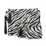 Wholesale zebra Print Tassel Handbag Zipper Closure Open Lined Inside Functional