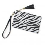 Wholesale zebra Print Tassel Wristlet Zipper Closure Open Lined Inside No Pocket