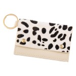 Wholesale genuine Leather Cow Print CC ID Keychain Holder Faux Leather Button Cl