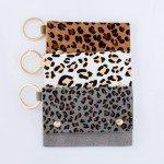 Wholesale genuine Leather Leopard Print CC ID Keychain Holder Faux Leather Butto