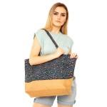 Wholesale leopard Print Canvas Tote Bag Top Zipper Closure Open Lined Inside Ins
