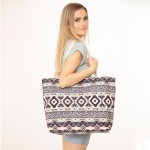 Wholesale animal Print Aztec Print Canvas Tote Bag Button Closure Lined Inside O
