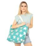 Wholesale metallic Sea turtle Print Canvas Tote Bag Button Closure Lined Inside