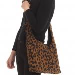 Wholesale corduroy Leopard Print Drawstring Handbag Drawstring Closure Open Line