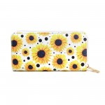 Wholesale faux Leather Sunflower Print Long Wallet Zip Closure Full Bill Card Co