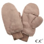 Wholesale c C MT Faux Fur Pop Top Mittens Polyester One fits most