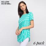 Wholesale striped sea foam green white short sleeve tunic top Pack Breakdown pcs