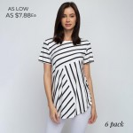 Wholesale striped white black short sleeve tunic top Pack Breakdown pcs pack S M