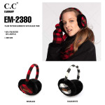 Wholesale c C EM Buffalo Check Faux Fur Earmuffs Polyester Acrylic One fits most