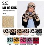 Wholesale c C MT KIDS Kids Leopard Print Knit Mittens Acrylic One fits most Matc