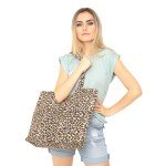 Wholesale leopard Print Canvas Tote Bag Zipper closure One inside open pocket W