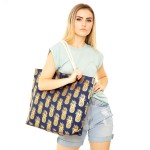 Wholesale metallic Pineapple Print Canvas Tote Bag Button Closure Lined Inside O