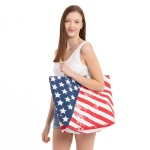 Wholesale vintage distressed American flag beach bag Button closure One inside o
