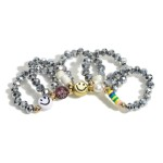 Wholesale set Five Glass Bead Elastic Rings Smiley Accents mm Diameter