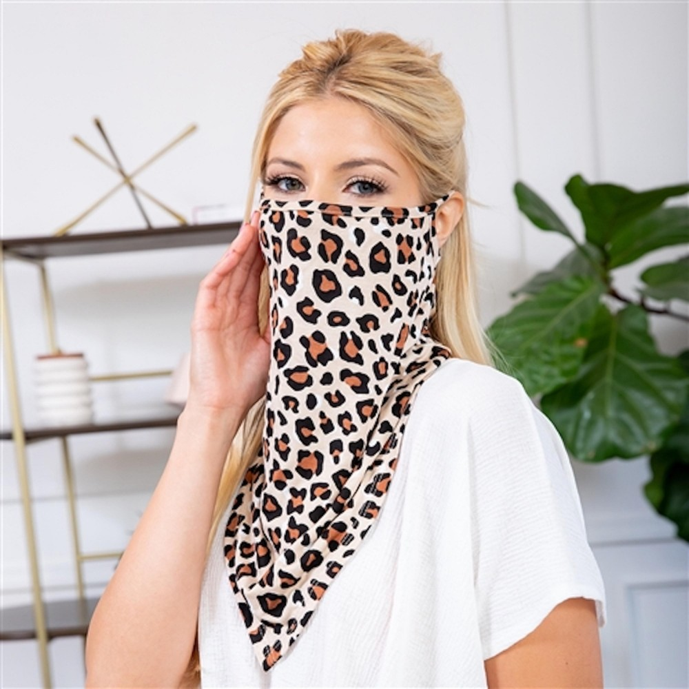 Leopard Print Face Shield Mask with Ear Loops. - Non ...